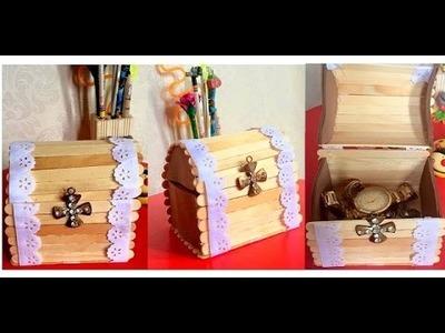DIY: BAÚ lindo feito Com Palitos de Picolé