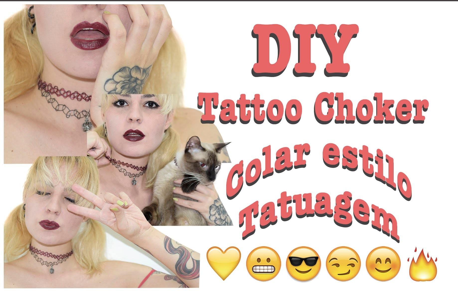 DIY   Como fazer Tattoo Choker (Colar estilo tatuagem) Muito Fácil   Ft. Mau Mau