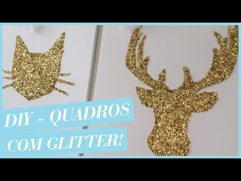 DIY - Dica de Presente!! (Quadros com glitter)