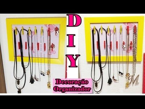 DIY-Organize seus Colares,Pulseiras e Aneis.Organizador de cordões.Por MaryahFroez