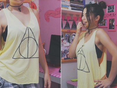 DIY: Camiseta cavada Harry Potter. tank top | Andressa Moraes
