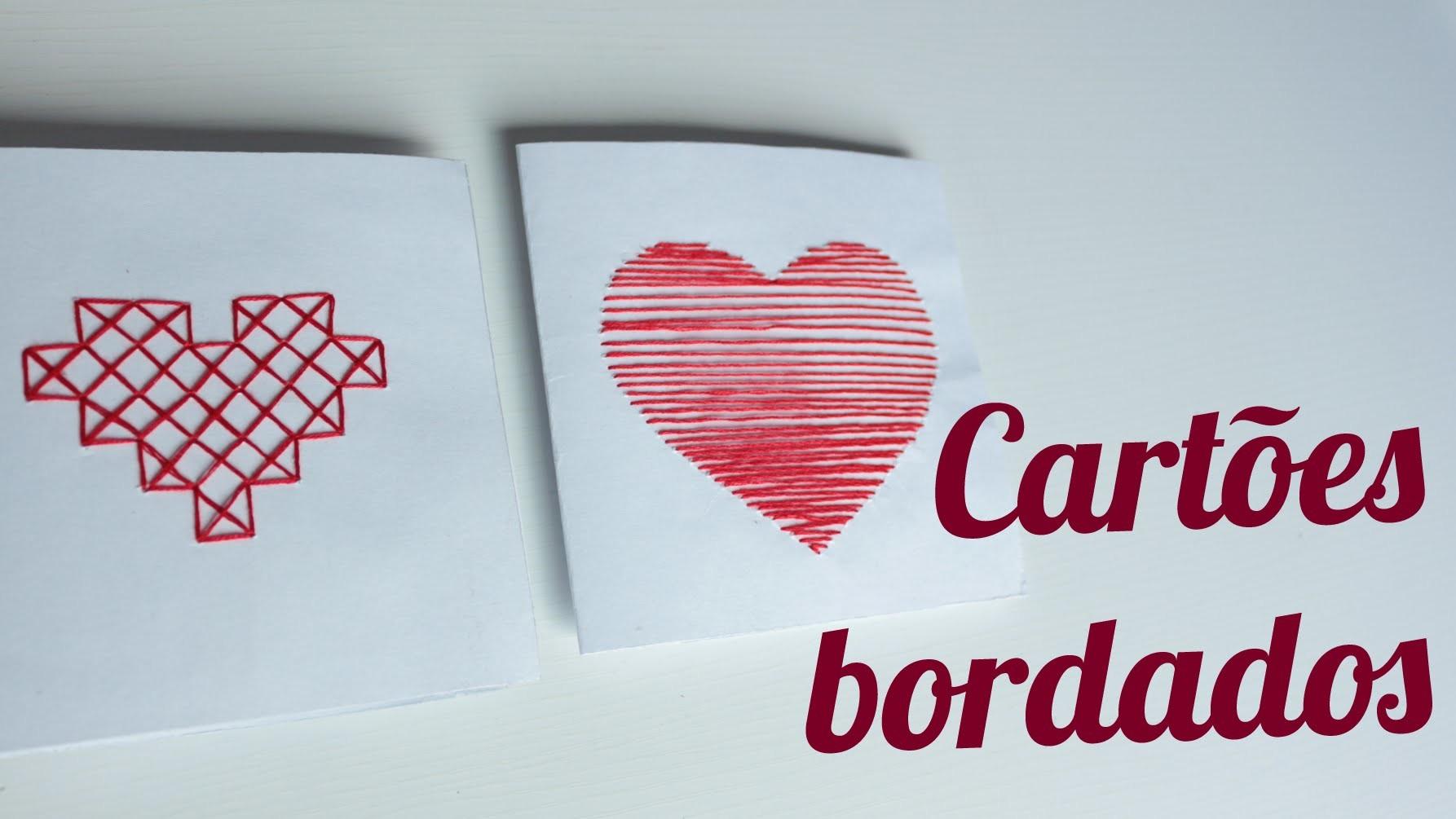DIY: Corações bordados em cartão