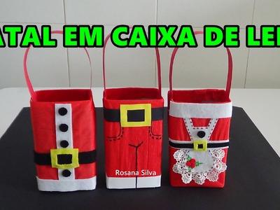 DIY DECORAÇÃO de NATAL em CAIXA de LEITE  SACOLA para  PRESENTE