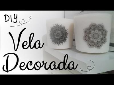 Vela decorada - DIY - Faça você mesmo