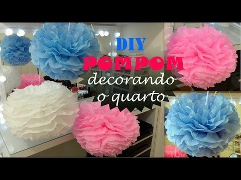 Decorando o quarto: DIY pompom com papel de seda (super fácil, rápido e barato)