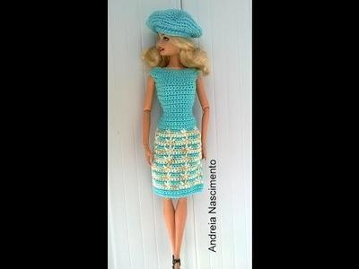 Diy vestido para boneca Barbie feito com ponto pé de galinha - faça você mesma