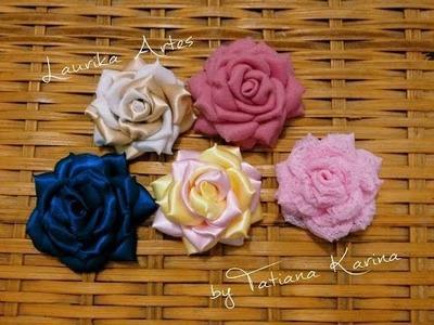 Flor Boleada (Ribbon Flower) by Tatiana Karina - Tutorial , PAP, DIY