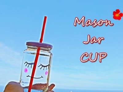 DIY: Como fazer Mason jar cup com um frasco de azeitonas