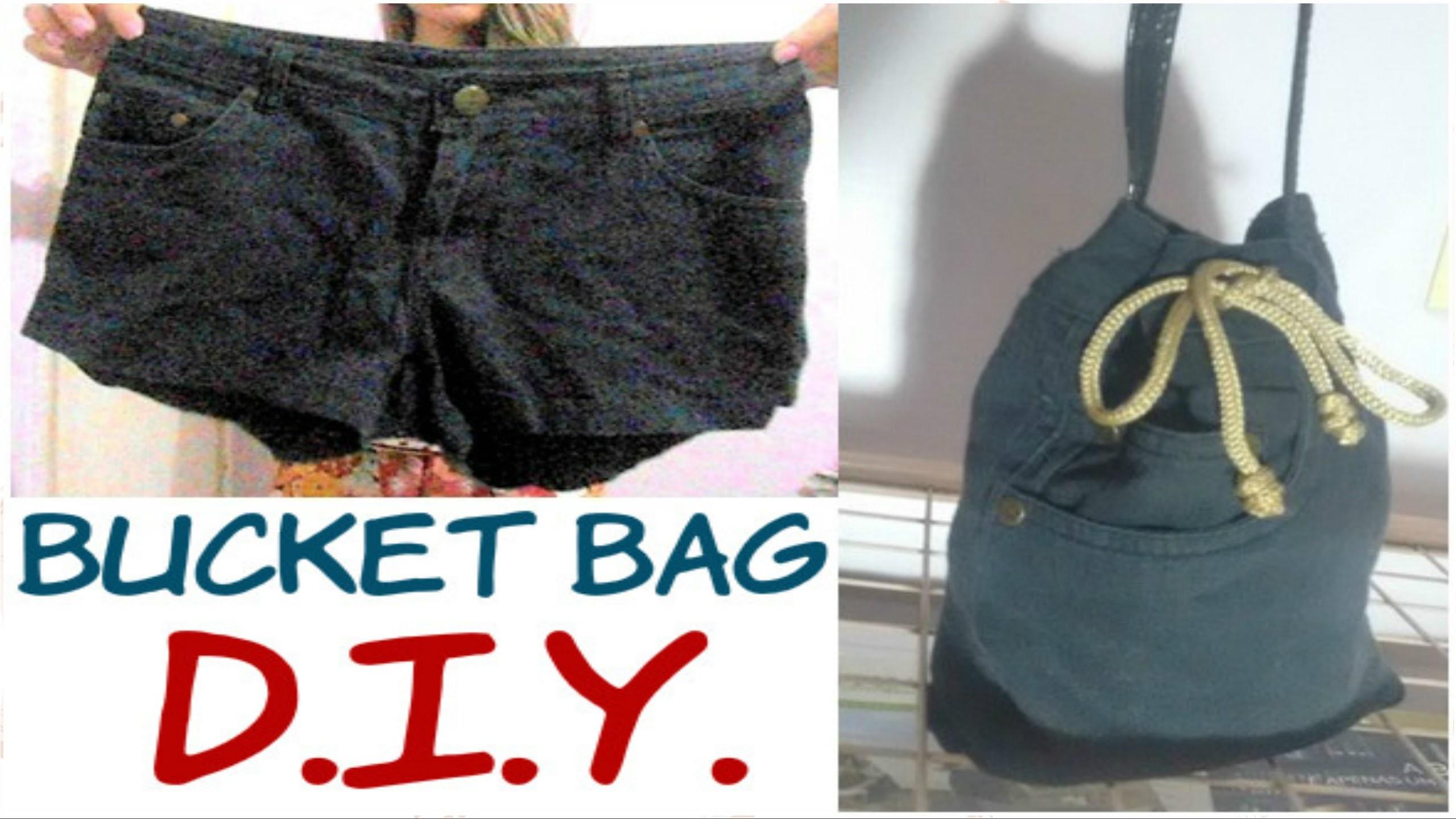 DIY: Faça uma BUCKET BAG FOFA usando SHORT VELHO! #Haulternative