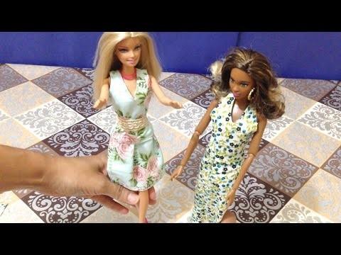 Vestidos para Boneca Barbie de Tecido sem Costura - DIY Brinquedos