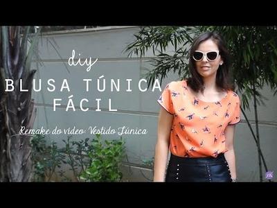 DIY Blusa Túnica - Muito Fácil   Corte - Costura - Acabamentos