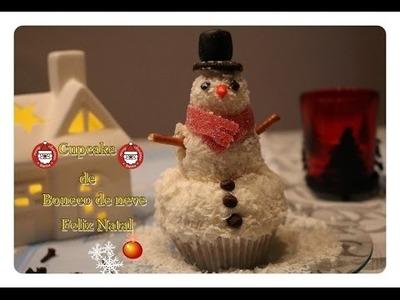 DIY: Comidas decoradas para o Natal Cupcake Boneco de neve ( Snowman)