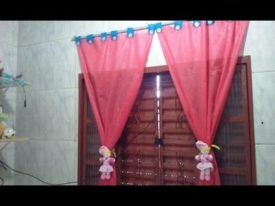 DIY Cortina de TNT para quarto infantil. Mãe Coruja por Vivana Queiroz
