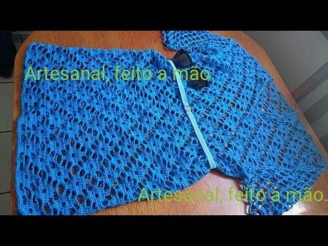 Vestido azul adulto feito em croche parte 6
