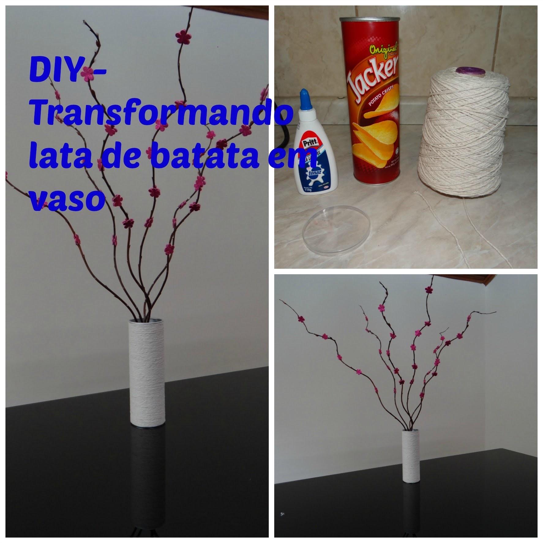 DIY - Transforme lata de batata pringles em vaso