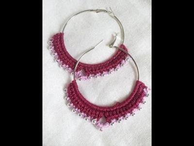 Brinco de argola com croche.  crochet earrings hoops with beads