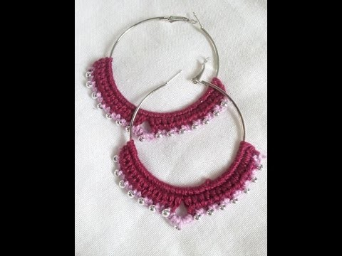 Brinco de argola com croche.  crochet earrings hoops with beads