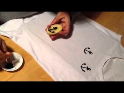 Diy: Estampar camisa com carimbo de batata