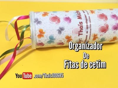 DIY | como fazer Organizador para fitas de cetim - reciclando