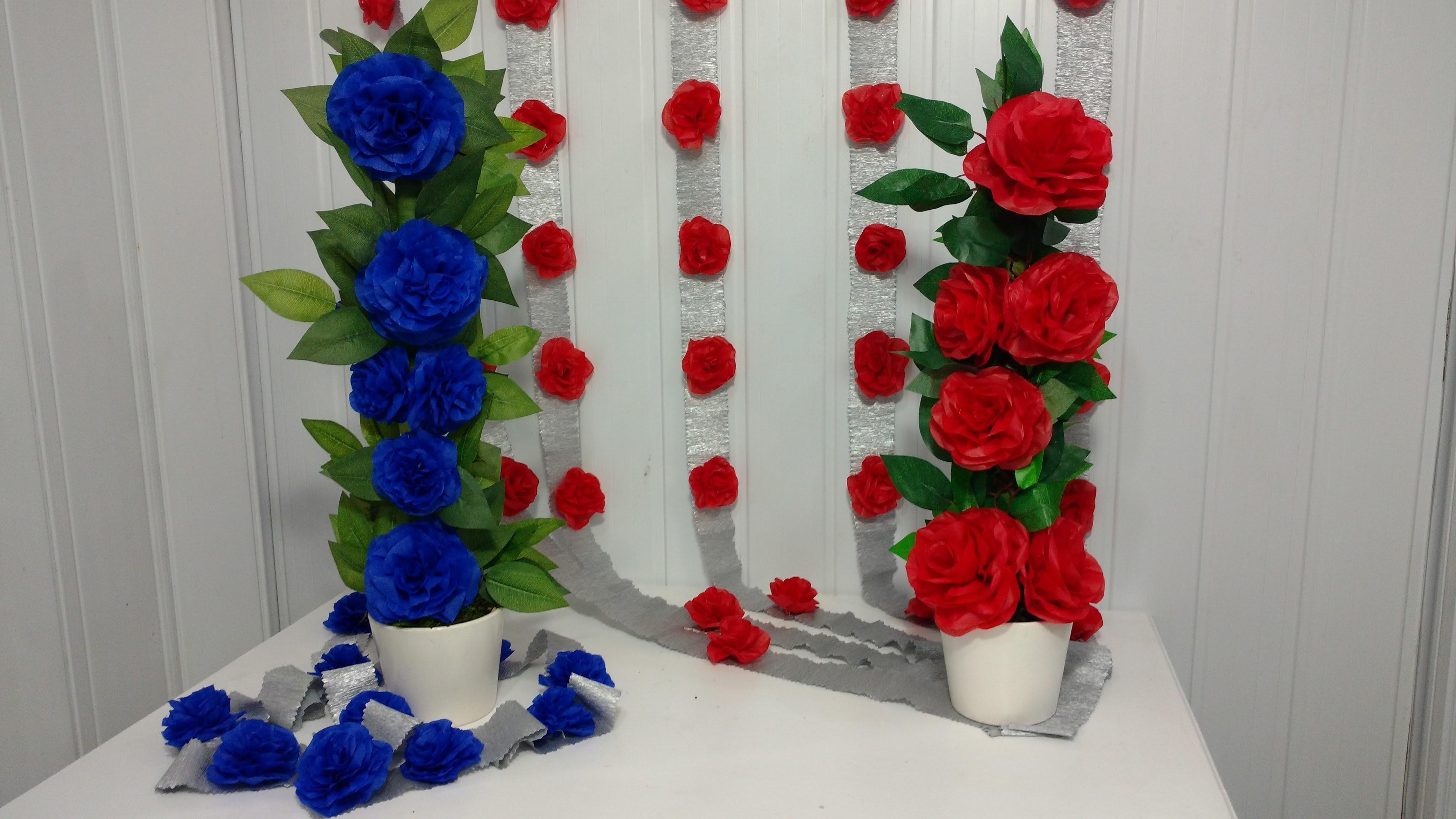 Aula 43 - Como fazer arranjo com flores de papel de seda (Artesanato)
