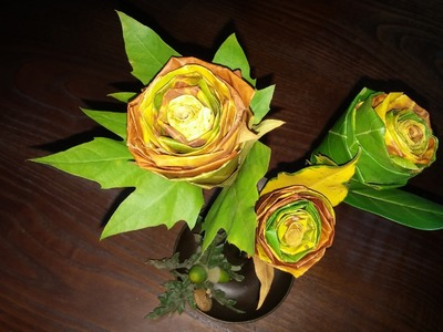 Flores de folhas secas - DIY - Flowers from dried leaves