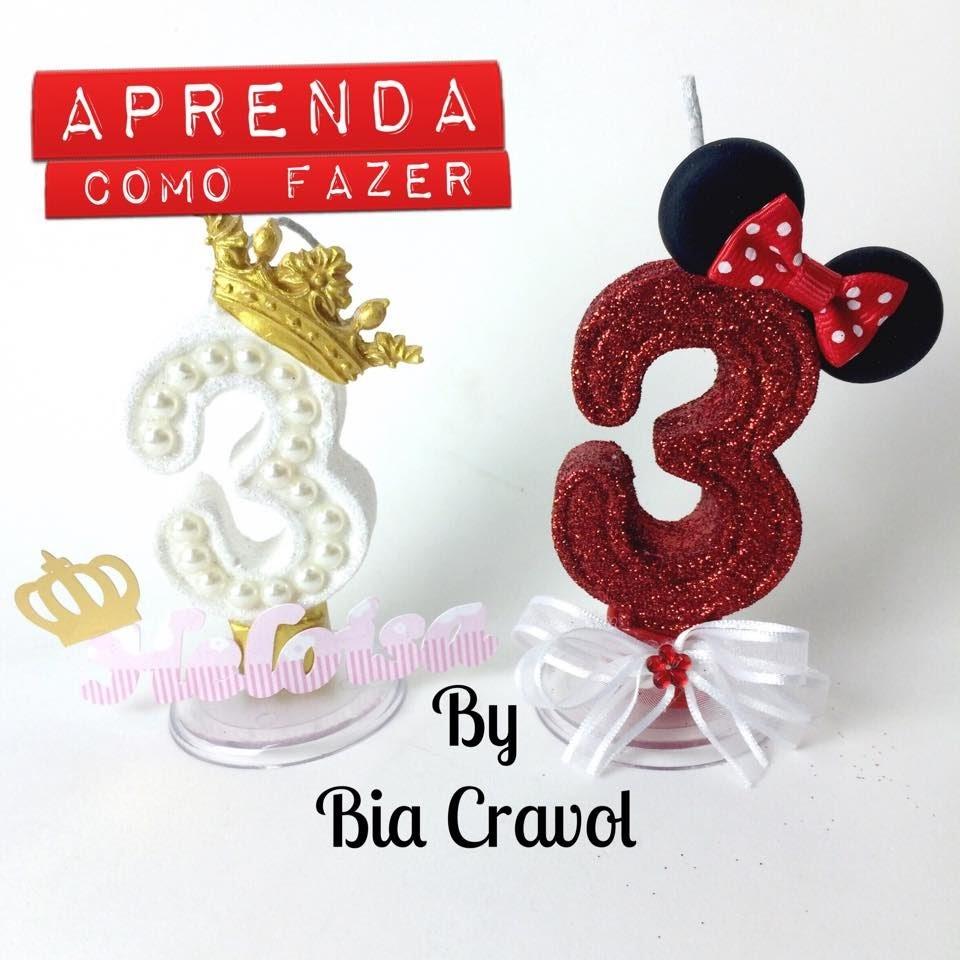 DIY - Como fazer Velas Personalizadas - Vela da Minie - Vela de Princesa - Bia Cravol