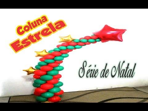 DIY:Coluna de Balões Estrela -Série de Natal