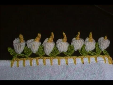 Barrado flor copo  de leite em crochê - CROCHÊ 20