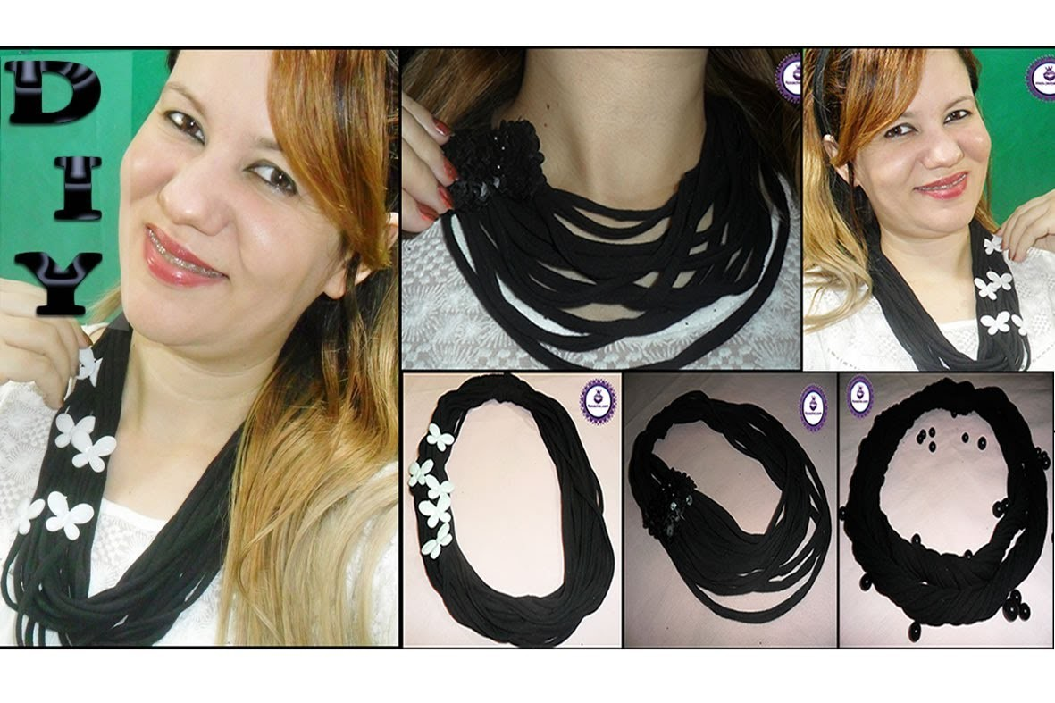 ✂ DIY | 3 Lindos Colares Feitos com T Shirt (T Shirt Necklaces)