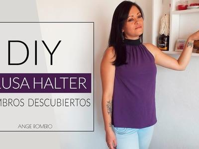 DIY - Blusa cuello halter con lazo largo para anudar - Sin moldes
