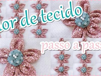DIY -  Como fazer flor de tecido passo a passo - Elaine Manuelly