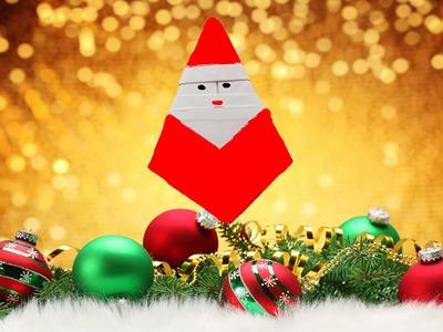 DIY - Como fazer um Papai Noel de papel - Origami Papai Noel