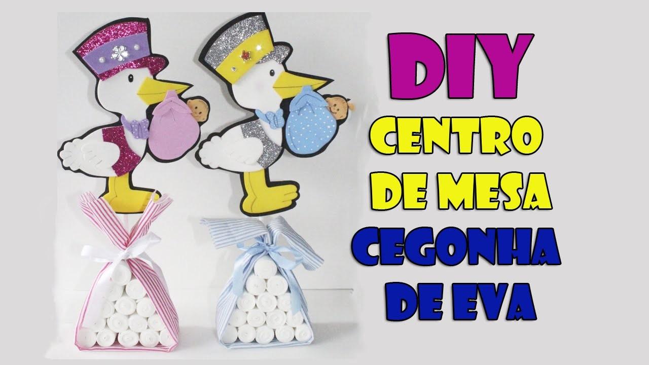 DIY crafts: cegonha para centro de mesa chá de bebe e fraldas -  BABY SHOWER