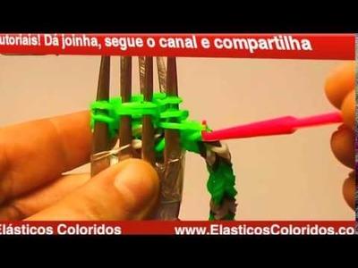 Cobra de elásticos passo a passo com garfos - rainbow loom