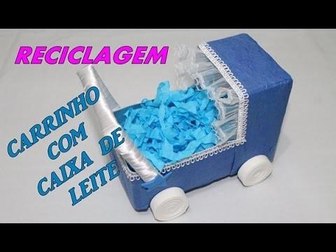 DIY Carrinho com caixa de leite ( how to make)