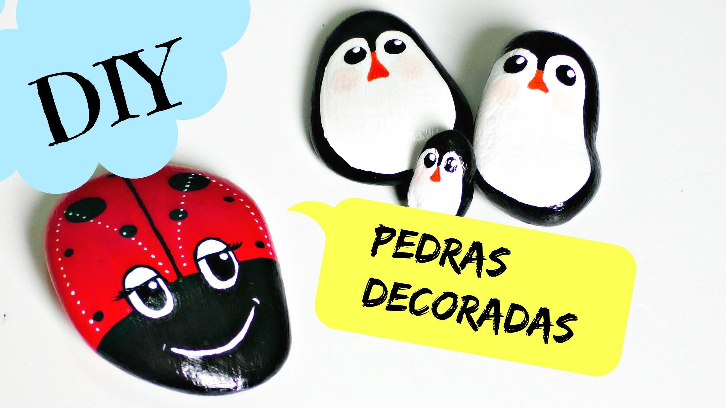 DIY: JOANINHA E PINGUINS DE PEDRA - DECORAÇÃO - Dica do Compartilhando arte