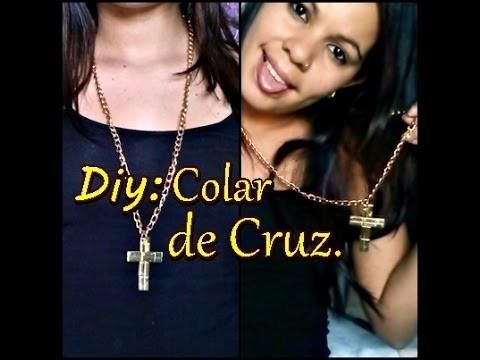 Diy: Colar de cruz (parece! mas não é de metal ).Bianca Ferreira
