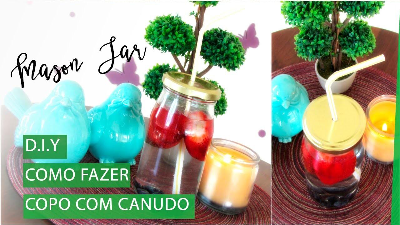DIY: Mason Jar (Copo com Canudinho) | Pigmento F