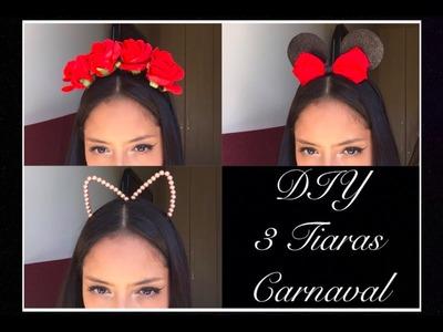 DIY: 3 Tiaras Para o Carnaval ♡ (Florida, Minnie e Gatinho)