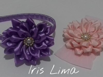 Como fazer flor de fita de cetim Diy ,Tutorial ,Pap By Iris Lima