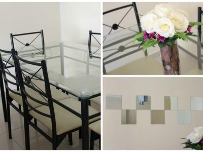 Decorando a sala de jantar | DIY:  arranjo de flores + espelhos na parede