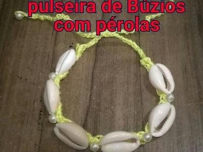 DIY:pulseira de Búzios com pérolas