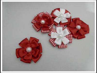 Flor de fita - Pétala quadradinha - Artesanato - Passo a passo