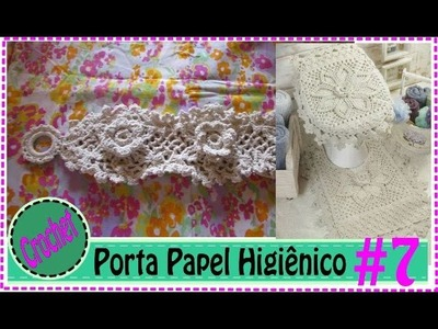 Porta Papel   - Jogo de Banheiro em Crochet com Barbante #7