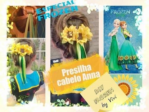 DIY FROZEN. Presilha da Anna- Tutorial. Princess Anna Inspired Hair Clip - Frozen