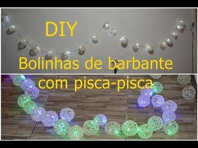 DIY Luzes com bolinhas de barbante | Para decoração e natal | Sayury Mendes