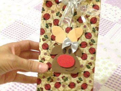 Caixa de Presente Natalina ou Embalagem para Natal - Artesanato