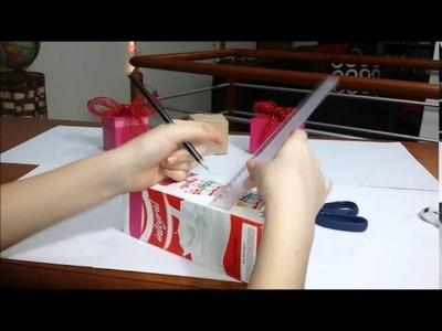 D.I.Y.Caixinha de Presente ou lembrancinha reciclagem com caixa de leite