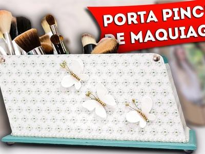 DIY: Como Fazer Porta Pincéis de Maquiagem - Artesanato Com Decoupage em Mdf, Faça Você Mesmo