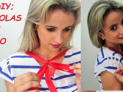 Diy; Customizando blusa com laço e perolas